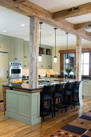 open kitchen island post and beam design ideas kitchen rustic with kitchen island open
