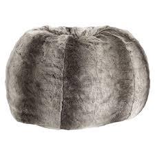 gray ombre faux fur beanbag pbteen