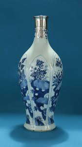 Blue Bottle Vase Kangxi Silver Mounted Chinese Blue And White Bottle Vase M Ford