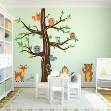 tree with owls wall decal woodland animals wall tree nursery decal