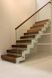 glass railing stair for indoor or outdoor wooden tread u shape l