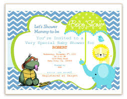 baby shower invitations turtle yellow blue elelphant