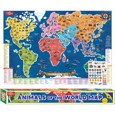 Map Of The World Poster by T S Shure Animals Of The World Map Pictorial Poster Walmart Com