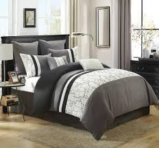 Grey California King Comforter 8 Piece Miami Gray White Comforter Set
