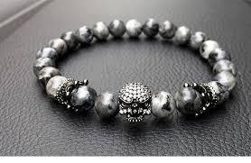 men beads bracelet images Skull charm natural stone light beads bracelet for men ink jpg