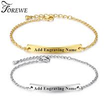 gold personalized bracelets forewe personalized bracelet gold color stainless steel engraved