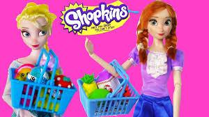 disney frozen eating shopkins queen elsa princess anna barbie