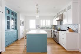 white kitchen cabinets with blue island white kitchen with blue island transitional kitchen