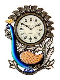 buy vintage clock handicraft peacock design pine wood clock online