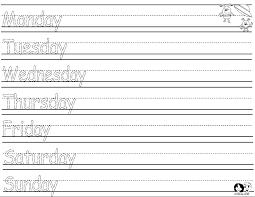 days of the week worksheets for preschool worksheets