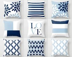 Throw Pillow Covers Light Blue White Navy Blue Pillow Typography Art