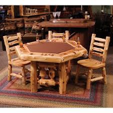 fireside lodge furniture 6 sided cedar poker table with log