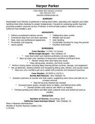 exles of resumes for restaurant lovely resume exles for fast food crew pictures inspiration