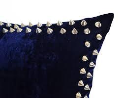 navy velvet pillow studded pillow blue velvet pillow silver