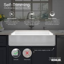 cabinet trim kitchen sink kohler whitehaven farmhouse apron front self trimming cast