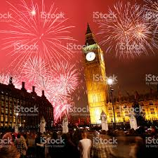 new years back drop big ben in london against a backdrop of new year fireworks stock