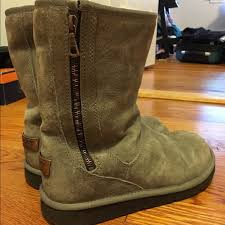 zipper ugg boots sale 73 ugg shoes grey zip up mid rise ugg boots from s