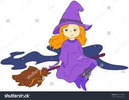 flying witch halloween lovely friendly witch flying on broomstick stock vector 315277625