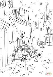 cafe terrace at night by vincent van gogh coloring page free