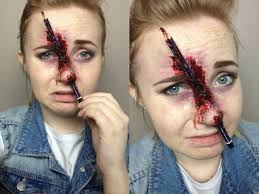 Halloween Makeup Stitches Pencil Through The Nose Spfx Makeup Tutorial Youtube