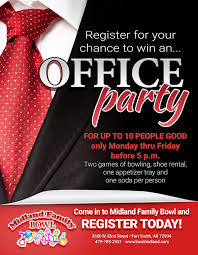office party flyer come in to win midland family bowling