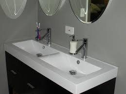 awesome white acrylic double sinks vanity with chromed metal