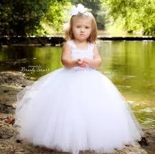 white flower dress tulle dress wedding dress birthday dress