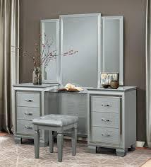 Vanity Set Furniture Allura Vanity Set In Silver By Homelegance Furniture Home