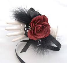 and black corsage burgundy and black feather wrist corsage s flowers