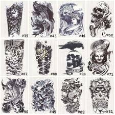black death skull shoulder tattoos temporary tatto men temporary