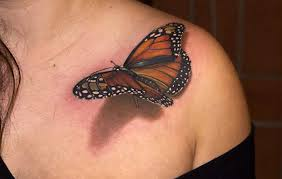 3d butterfly on left collarbone for