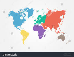 World Map Cuba by Vector World Map Continent Different Color Stock Vector 293396330