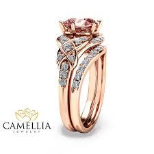 morganite wedding set 14k gold engagement ring gold morganite wedding rings