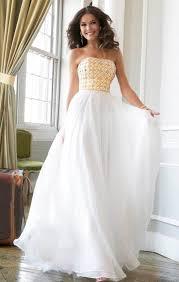 chic patterned strapless floor length white long prom dress