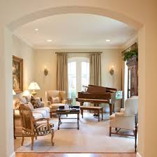 piano room design family room traditional with wingback chair arch