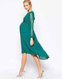 image 4 of maya maternity midi dress with embellished bodice and
