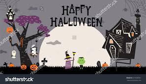 kids halloween background images halloween background haunted house big tree pumpkins stock vector