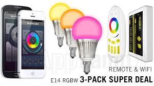 super saver 3 pack 5watt e14 wi fi led bulbs wifi box remote