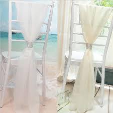 chiffon chair sash 2016 white wedding chair covers chiffon material custom made 1 8 m