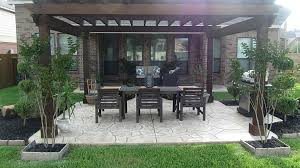 Backyard Cement Patio Ideas Stamped Concrete Patio With Pergola Gorgeous Backyard With A