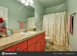 Red Color Combination Bathroom Interior In Green And Red Color Combination U2014 Stock Photo
