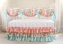 Pink And Gold Nursery Bedding Blush Pink Floral Crib Bedding Set Pink Coral And Aqua Baby