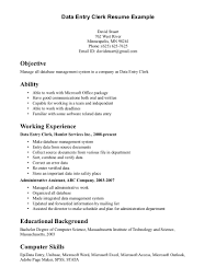 skill exle for resume office clerk resume for cover letter sles genius data entry exle