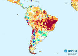 Brazil On South America Map by South America Water Deficits In Eastern Brazil Surpluses In