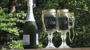 his hers wine glasses pair of personalized his hers jar wine toasting