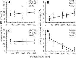 photosensitivity to different light intensities in blind and