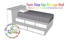 Platform Bed Frame With Storage Plans by Ana White Twin Step Up Storage Bed Diy Projects