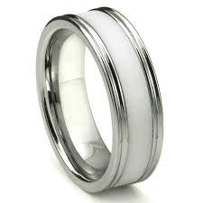 satin finish ring tungsten carbide white ceramic inlay wedding band ring w