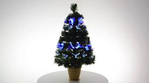 mini green fibre optic tree with gold pot xs1659