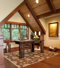 office cabin ceiling with window treatments home office rustic and